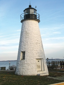 The Concord Lighthouse, built in 1827, anchors one end of the waterfront promenade where the Susquehanna River meets the Bay in Havre de Grace.