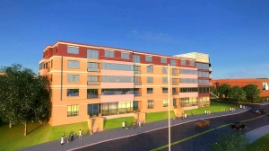 "A rendering of the ""grand housing"" residential building at Gibbons Common  proving affordable housing to  grandparents raising their grandchildren"