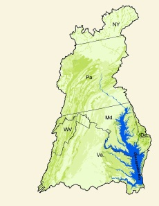 The Chesapeake Bay watershed includes most of Maryland and parts of Virginia, West Virginia, Pennsylvania, Delaware and New York.