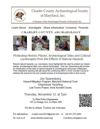 Flyer for presentation at the Charles County Chapter of the Archeological Society of Maryland